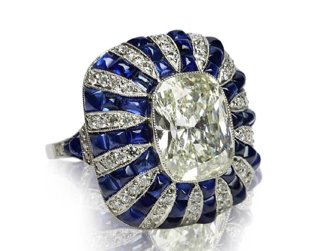 5.42ct GIA Diamond, 7ctw Blue Sapphire & Platinum Ring - 6