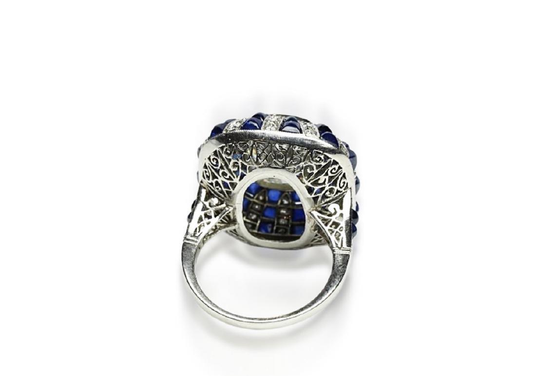 5.42ct GIA Diamond, 7ctw Blue Sapphire & Platinum Ring - 7