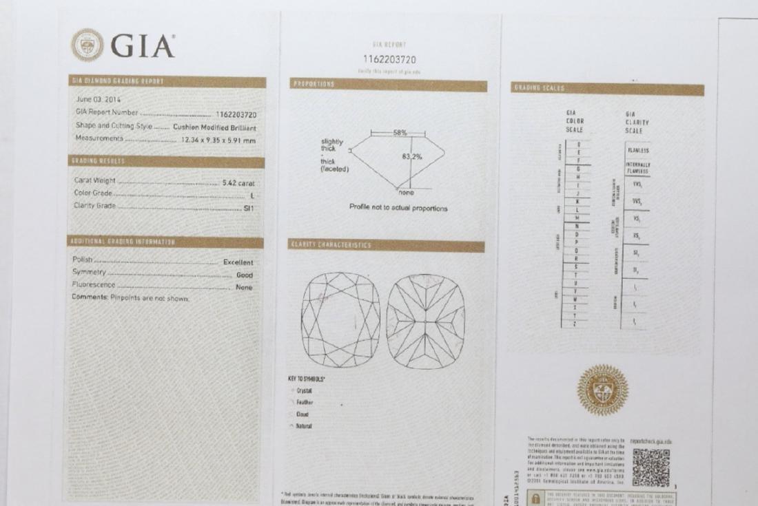 5.42ct GIA Diamond, 7ctw Blue Sapphire & Platinum Ring - 8