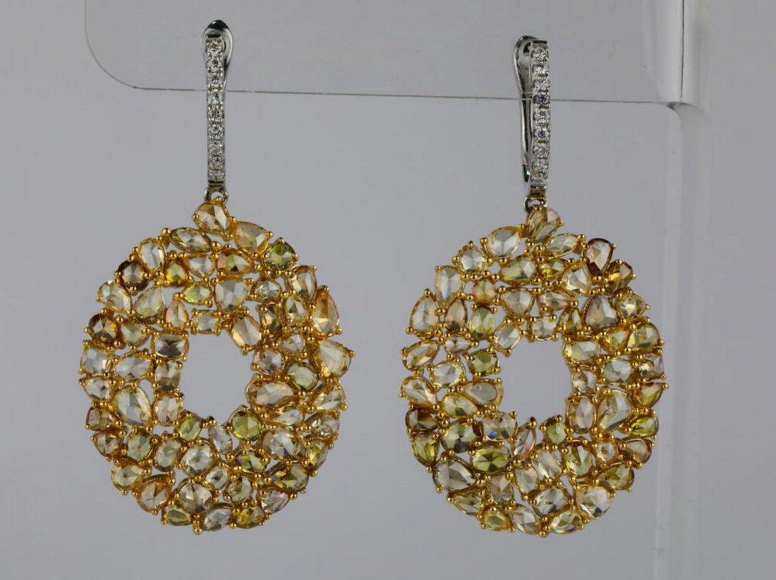 10.90ctw SI1-SI2 Multi-Color Diamond 14K Earrings