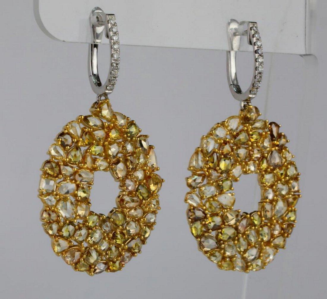10.90ctw SI1-SI2 Multi-Color Diamond 14K Earrings - 3