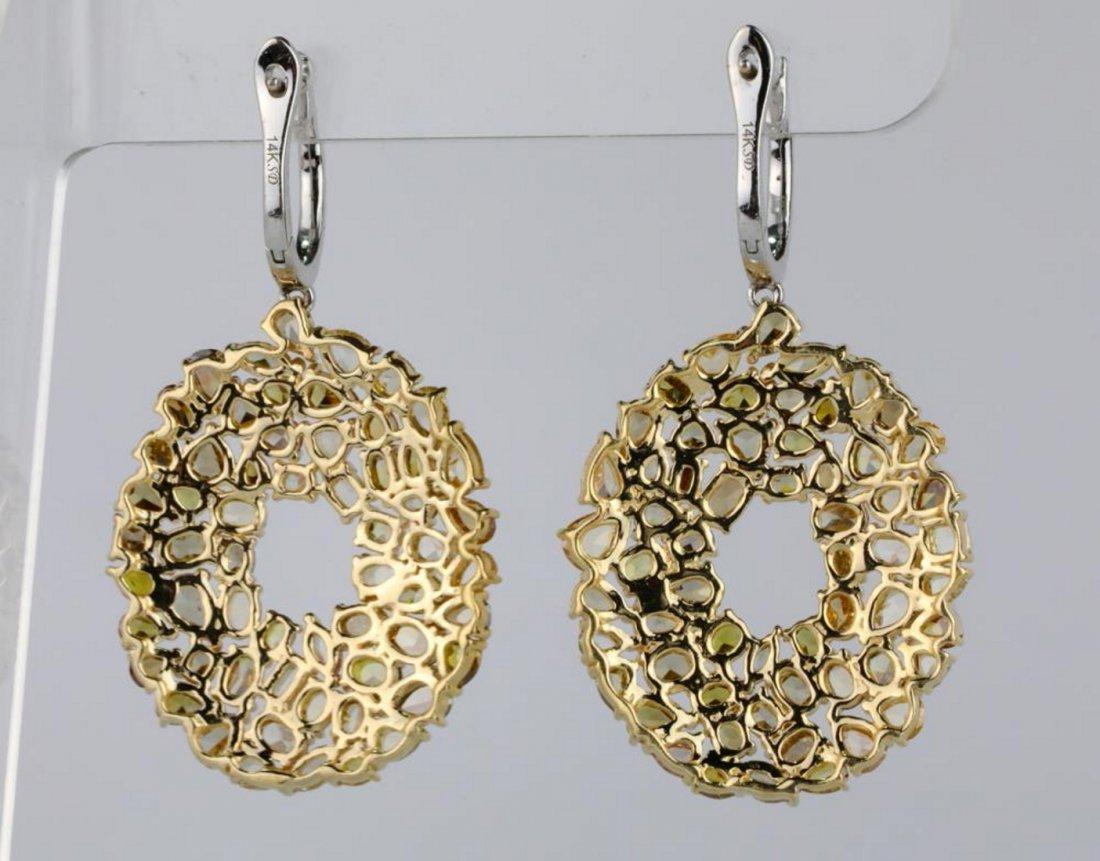 10.90ctw SI1-SI2 Multi-Color Diamond 14K Earrings - 4