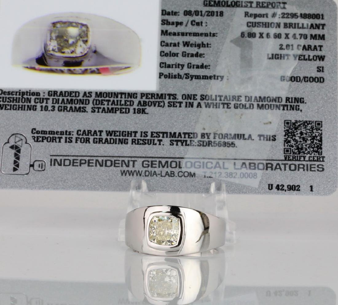 2.01ct Yellow Diamond 18K Men's Ring W/IGL Report