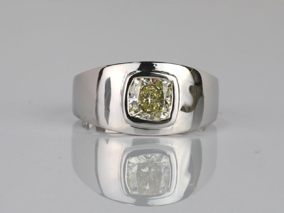 2.01ct Yellow Diamond 18K Men's Ring W/IGL Report - 2