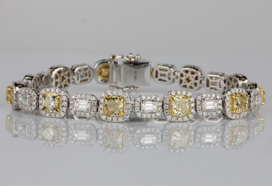 "12.55ctw Yellow & White Diamond 14K 7.5"" Bracelet"