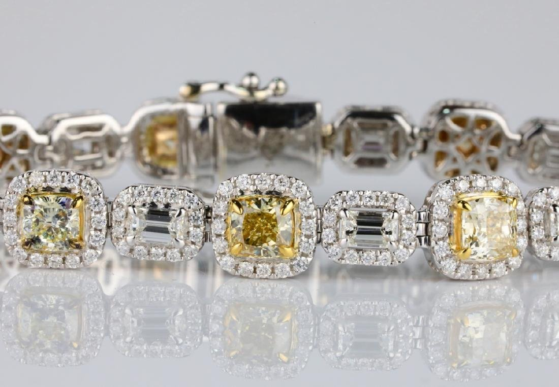 "12.55ctw Yellow & White Diamond 14K 7.5"" Bracelet - 2"