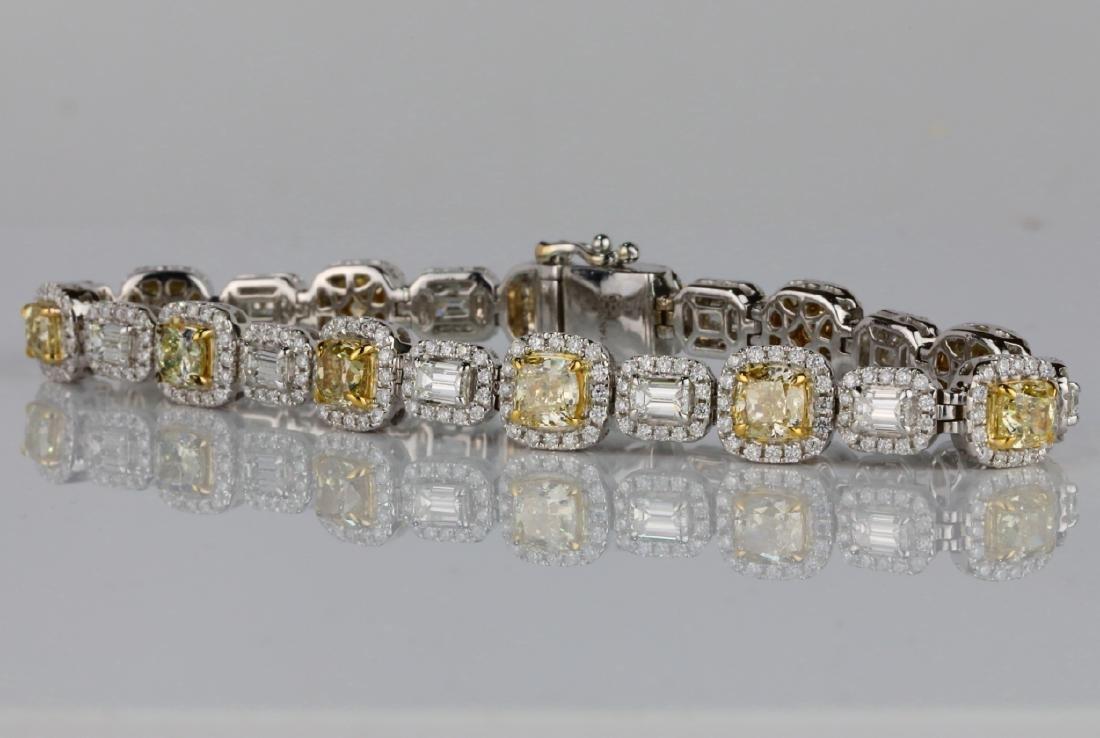 "12.55ctw Yellow & White Diamond 14K 7.5"" Bracelet - 3"