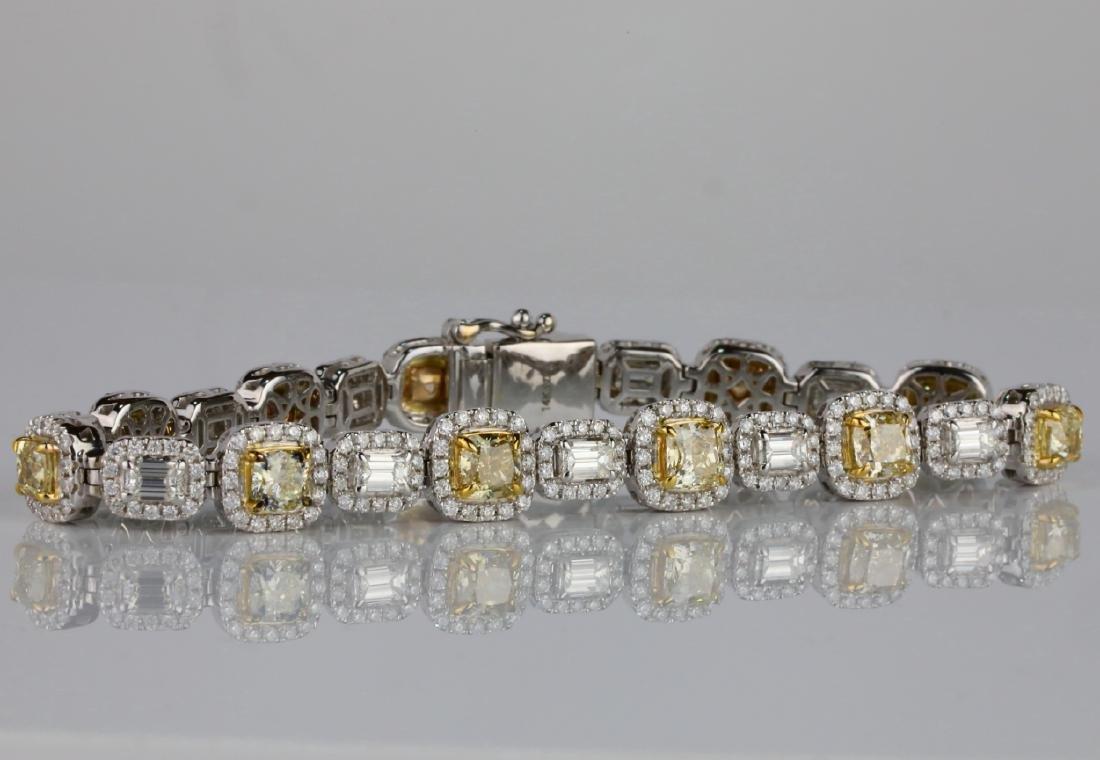 "12.55ctw Yellow & White Diamond 14K 7.5"" Bracelet - 4"