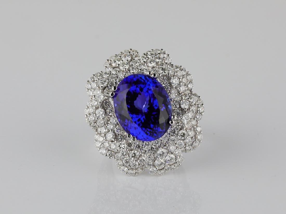 13.15ct Tanzanite, 4.20ctw Diamond & 18K Ring