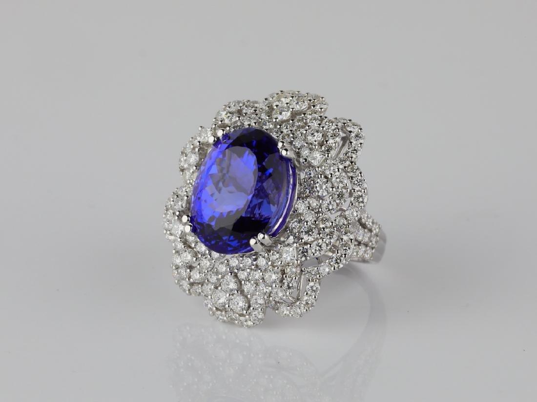 13.15ct Tanzanite, 4.20ctw Diamond & 18K Ring - 2