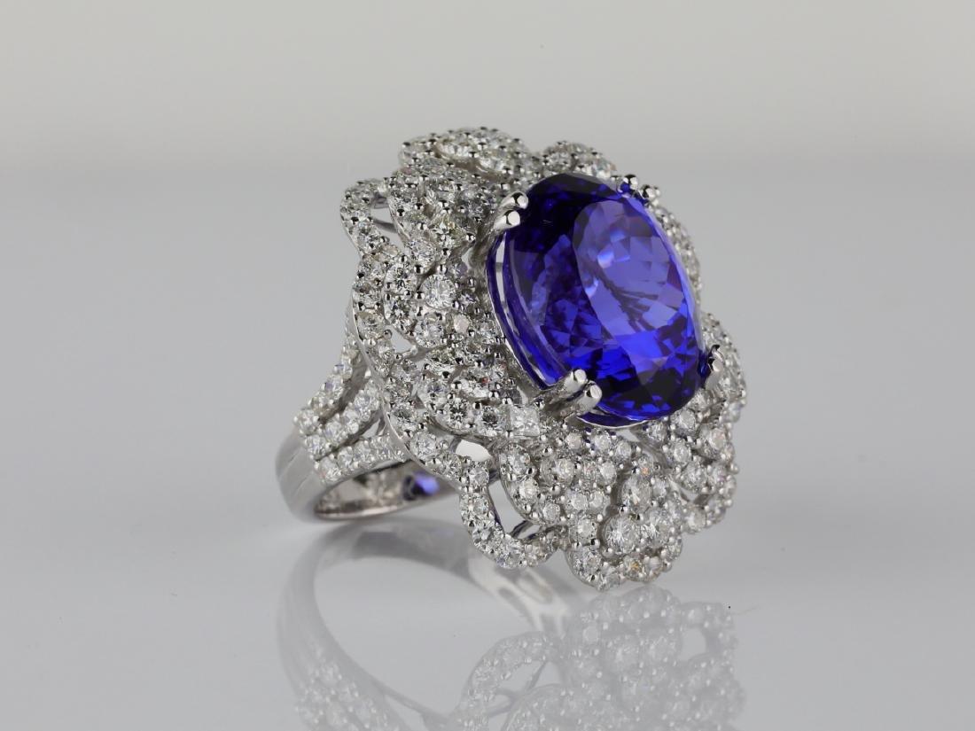 13.15ct Tanzanite, 4.20ctw Diamond & 18K Ring - 3