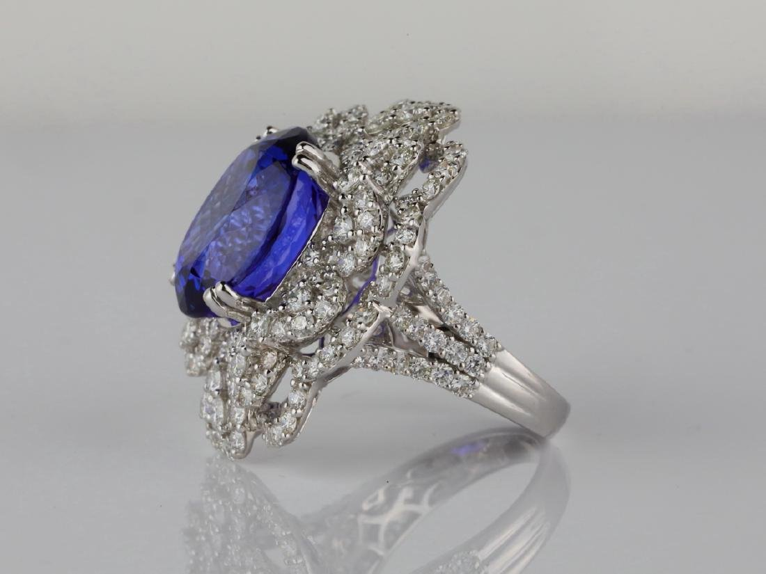 13.15ct Tanzanite, 4.20ctw Diamond & 18K Ring - 4