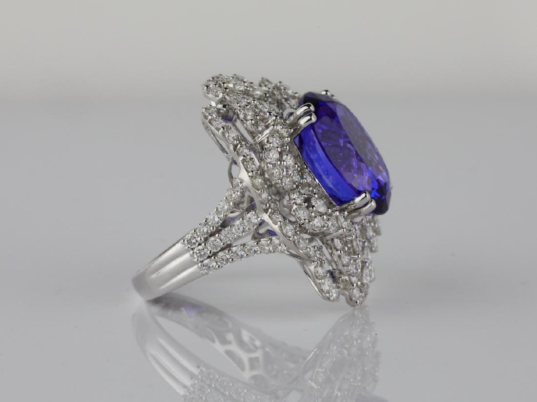 13.15ct Tanzanite, 4.20ctw Diamond & 18K Ring - 5