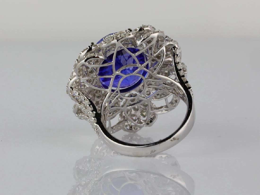13.15ct Tanzanite, 4.20ctw Diamond & 18K Ring - 6