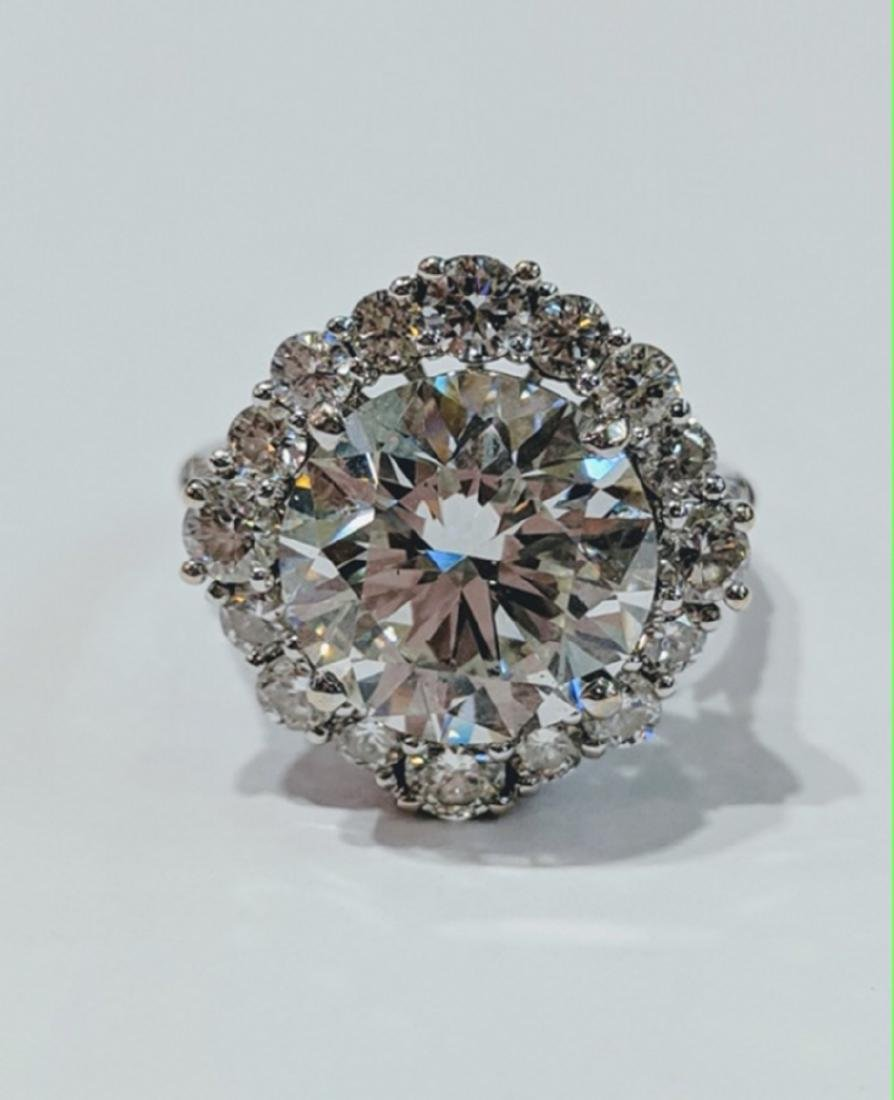 6.27ct GIA VS2/J Diamond, 1.55ctw Diamond 18K Ring