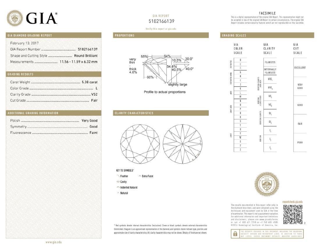5.38ct GIA VS2/L Diamond, .30ctw Diamond 18K Ring - 5