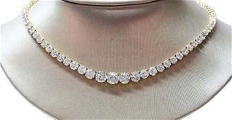 30.70ctw VS1-VS2/G-H Diamond 18K Tennis Necklace