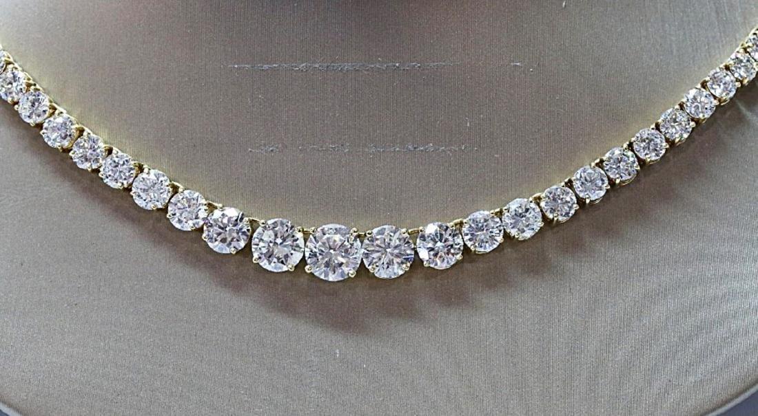 30.70ctw VS1-VS2/G-H Diamond 18K Tennis Necklace - 2