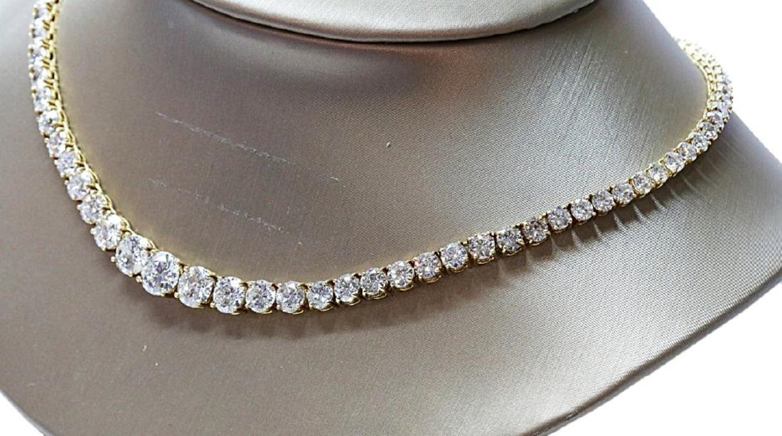 30.70ctw VS1-VS2/G-H Diamond 18K Tennis Necklace - 3