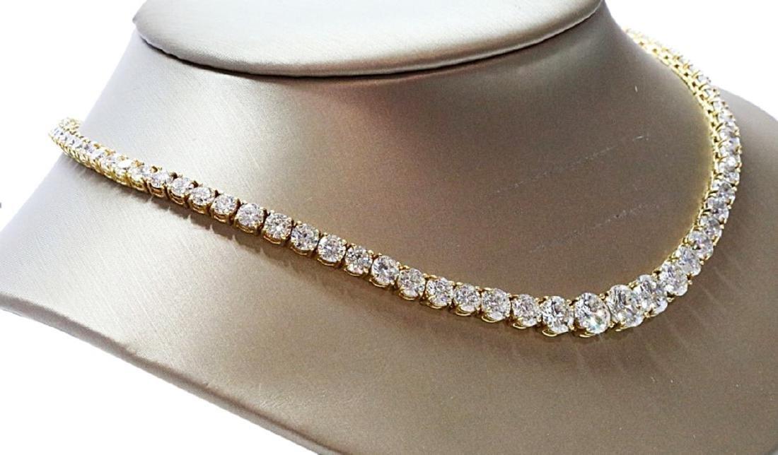 30.70ctw VS1-VS2/G-H Diamond 18K Tennis Necklace - 5