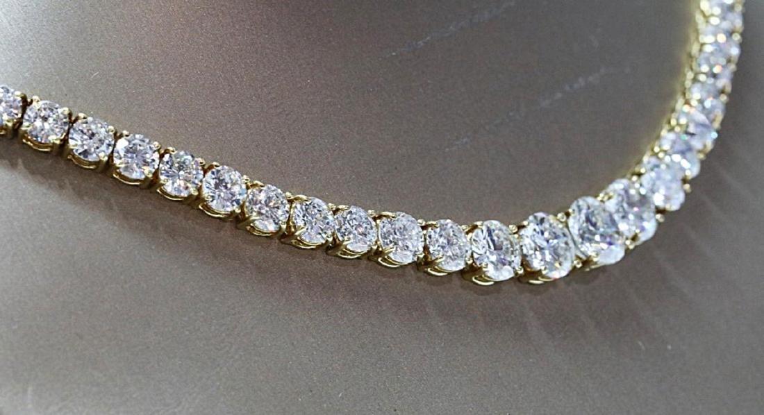 30.70ctw VS1-VS2/G-H Diamond 18K Tennis Necklace - 6