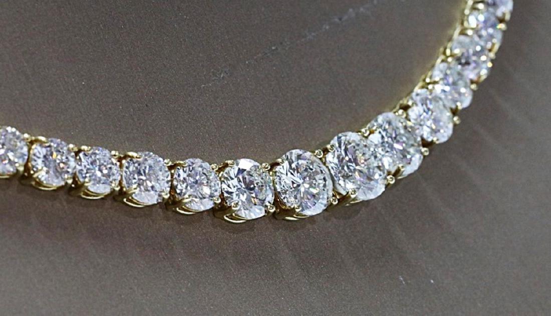 30.70ctw VS1-VS2/G-H Diamond 18K Tennis Necklace - 7