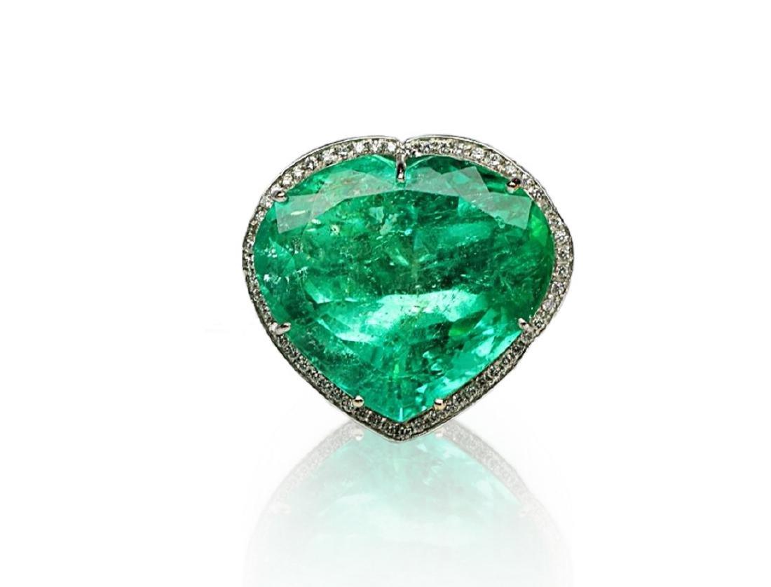 60.75ct AGL Colombian Emerald, 5ctw Diamond Ring