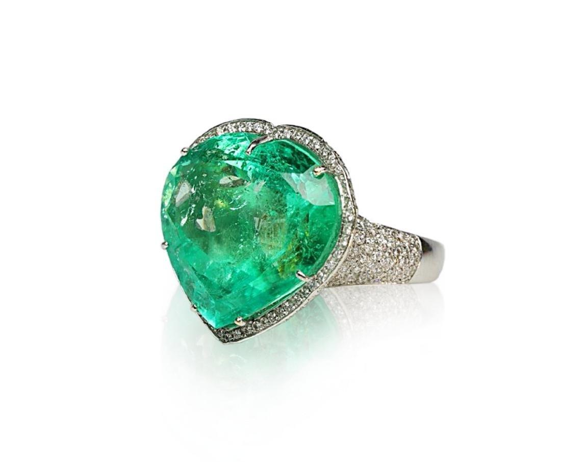 60.75ct AGL Colombian Emerald, 5ctw Diamond Ring - 2
