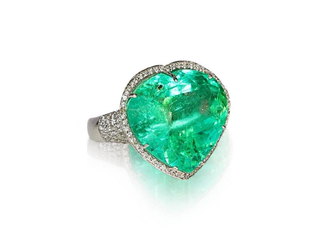 60.75ct AGL Colombian Emerald, 5ctw Diamond Ring - 3