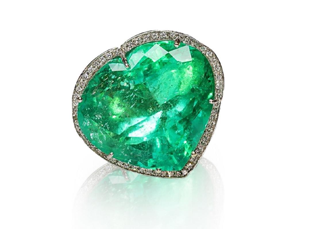 60.75ct AGL Colombian Emerald, 5ctw Diamond Ring - 4
