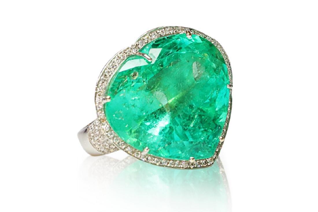 60.75ct AGL Colombian Emerald, 5ctw Diamond Ring - 5