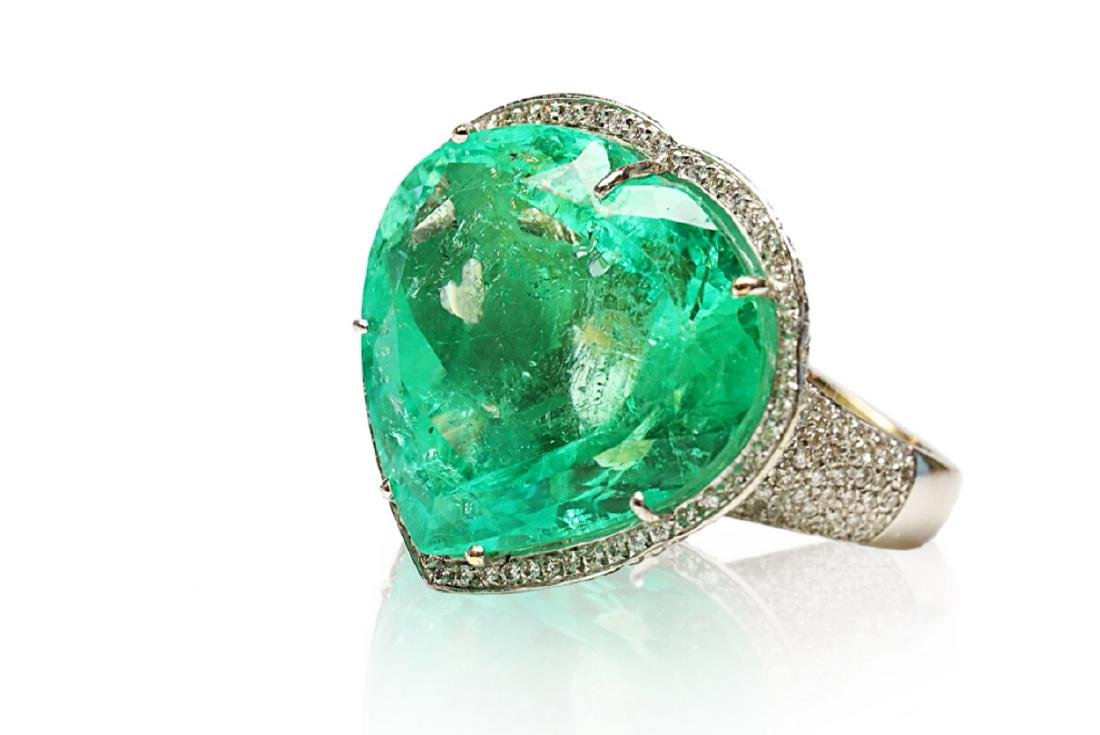 60.75ct AGL Colombian Emerald, 5ctw Diamond Ring - 6