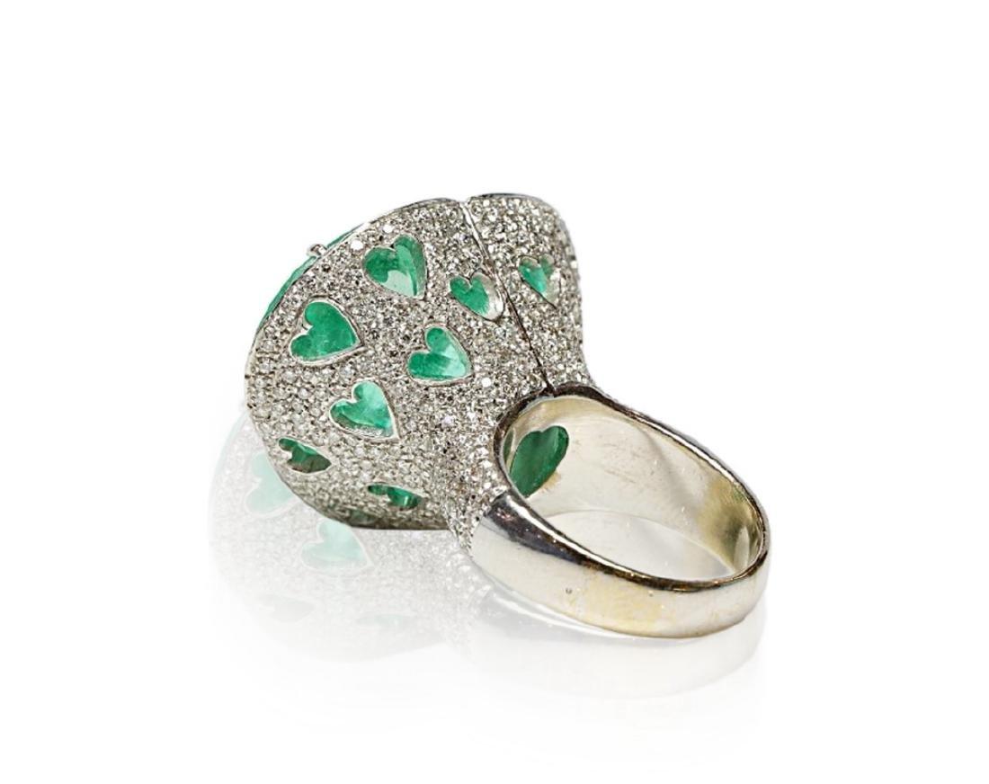 60.75ct AGL Colombian Emerald, 5ctw Diamond Ring - 7