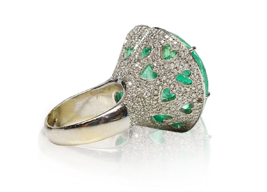 60.75ct AGL Colombian Emerald, 5ctw Diamond Ring - 8