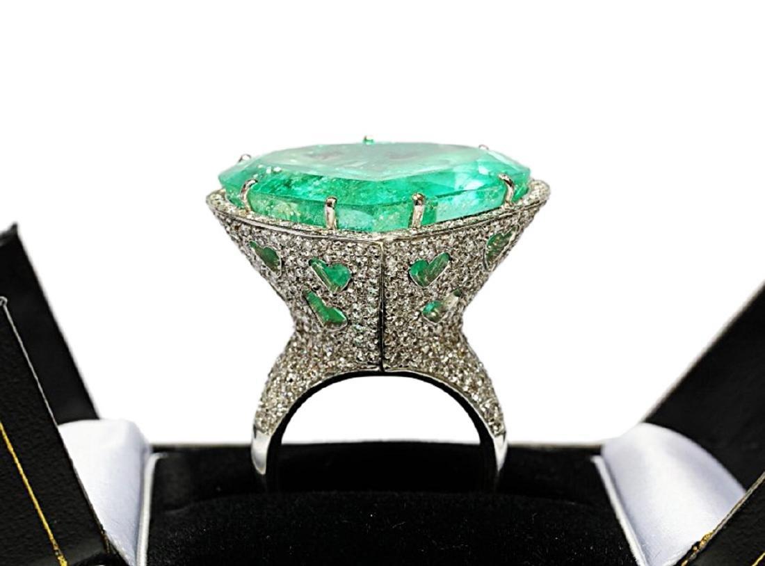 60.75ct AGL Colombian Emerald, 5ctw Diamond Ring - 9