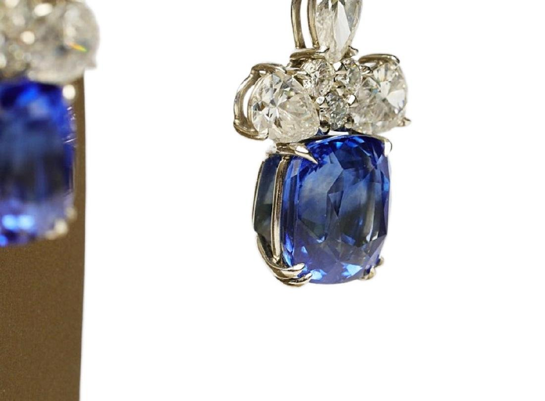 13ctw Blue Sapphire & 6.6ctw Diamond Earrings - 10