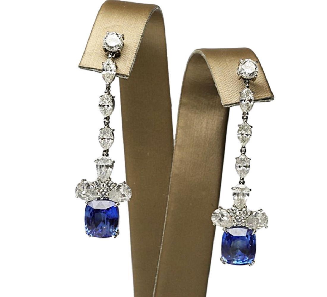 13ctw Blue Sapphire & 6.6ctw Diamond Earrings