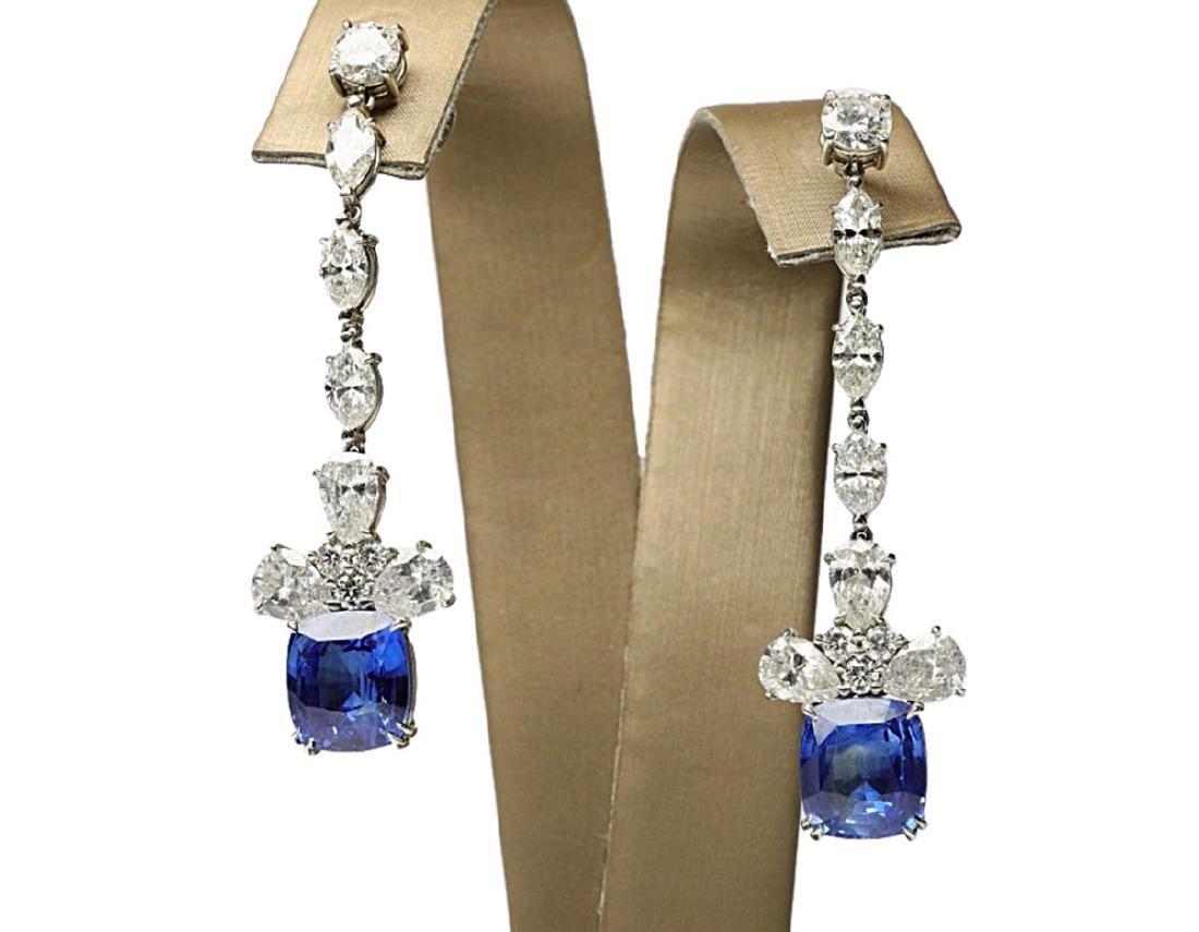13ctw Blue Sapphire & 6.6ctw Diamond Earrings - 2