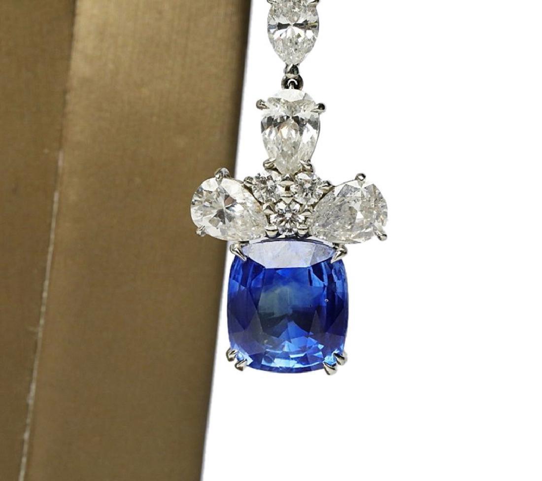 13ctw Blue Sapphire & 6.6ctw Diamond Earrings - 4