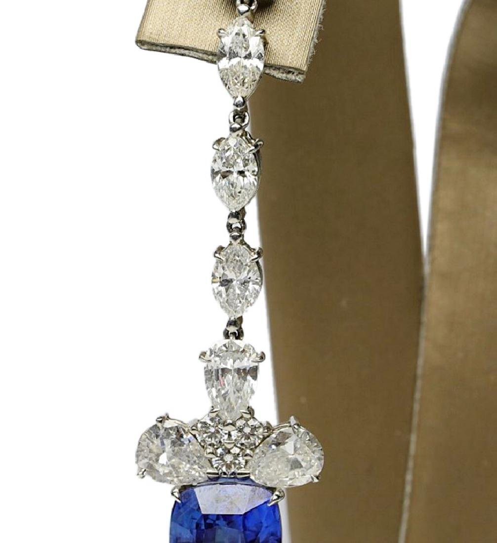 13ctw Blue Sapphire & 6.6ctw Diamond Earrings - 5