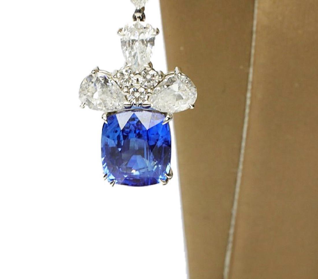13ctw Blue Sapphire & 6.6ctw Diamond Earrings - 6