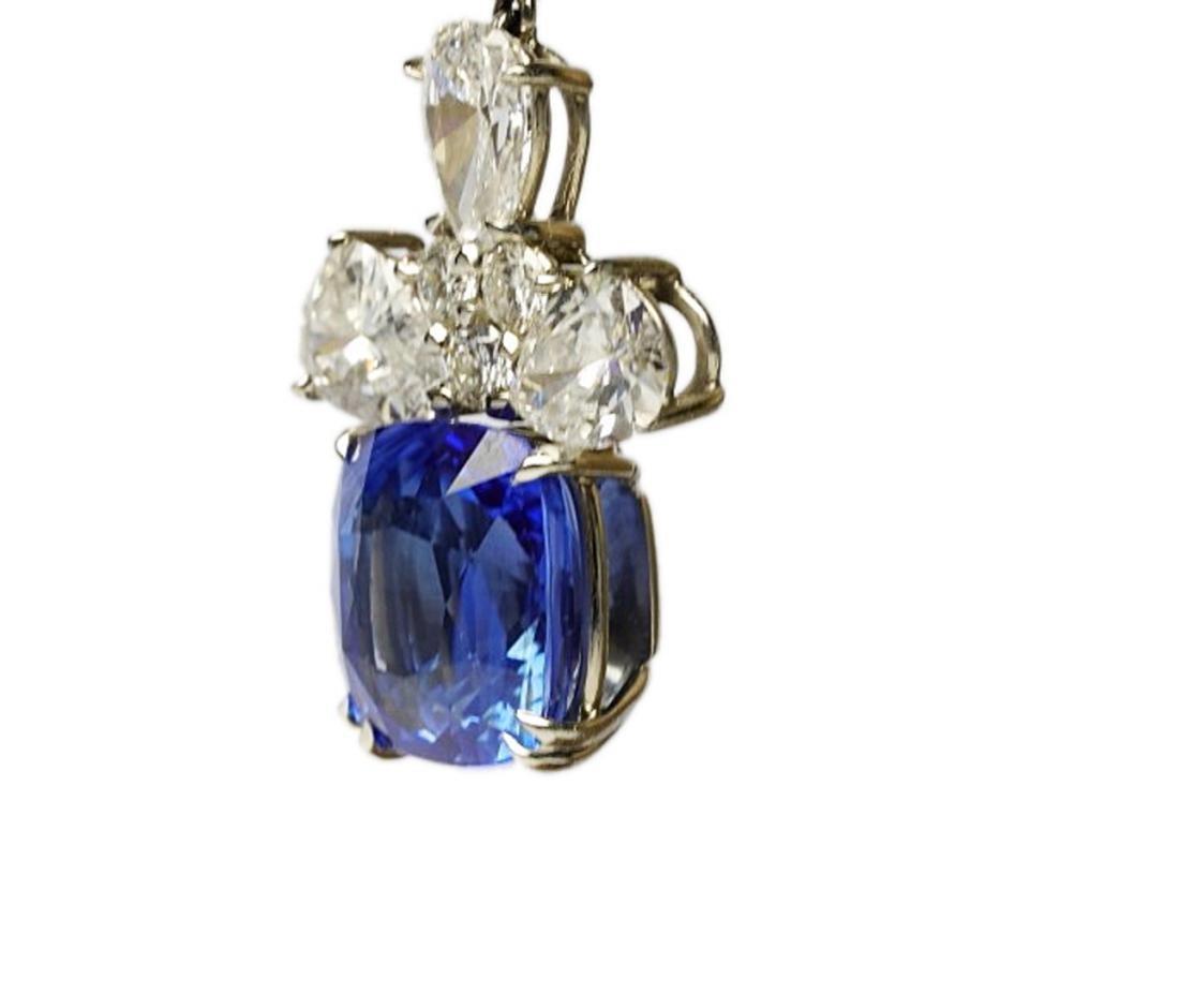 13ctw Blue Sapphire & 6.6ctw Diamond Earrings - 8