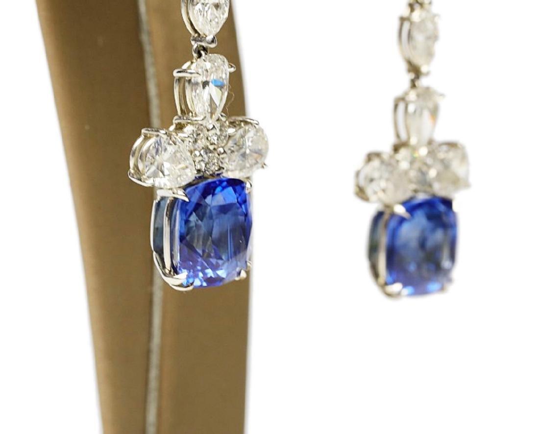 13ctw Blue Sapphire & 6.6ctw Diamond Earrings - 9