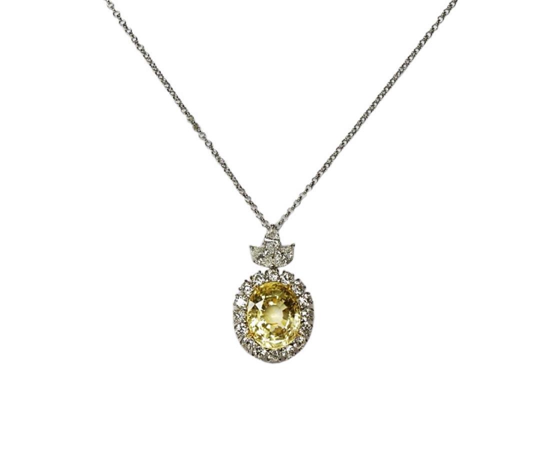 27.38ct GIA Yellow Sapphire, 5ctw Diamond Necklace