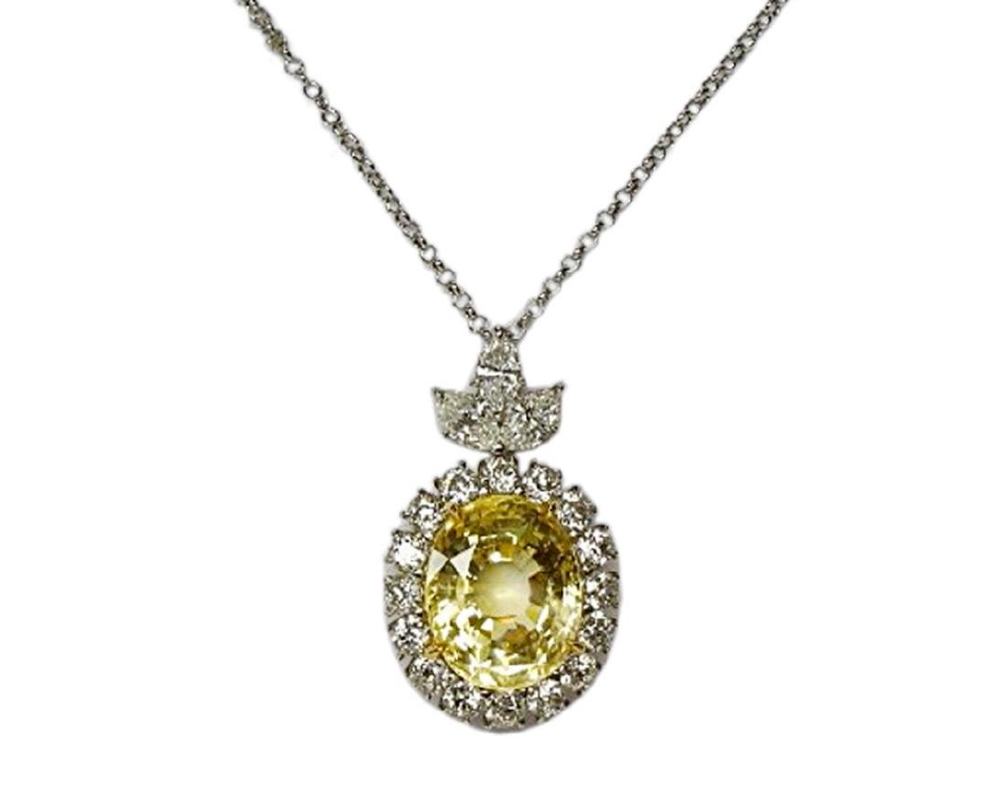 27.38ct GIA Yellow Sapphire, 5ctw Diamond Necklace - 2