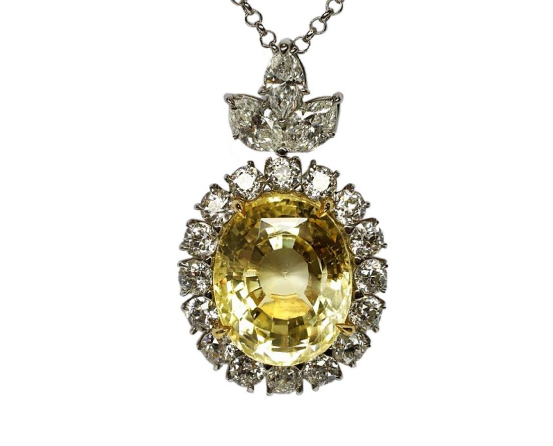 27.38ct GIA Yellow Sapphire, 5ctw Diamond Necklace - 3
