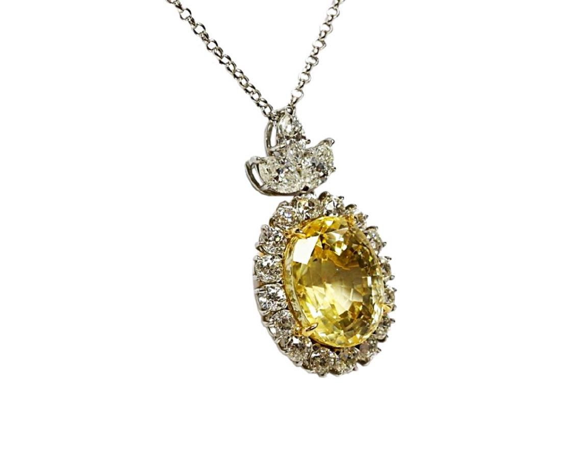 27.38ct GIA Yellow Sapphire, 5ctw Diamond Necklace - 4