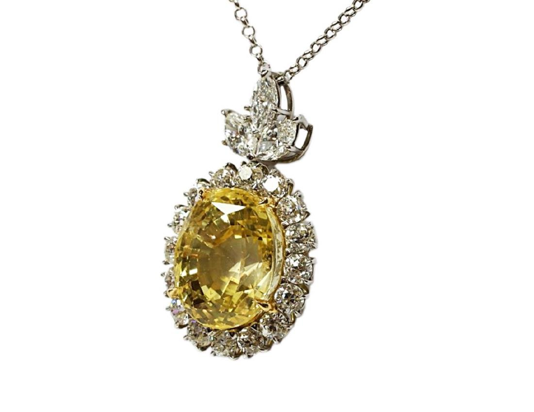 27.38ct GIA Yellow Sapphire, 5ctw Diamond Necklace - 5