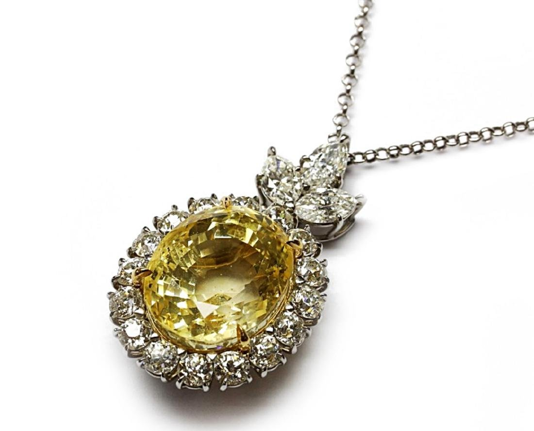 27.38ct GIA Yellow Sapphire, 5ctw Diamond Necklace - 7