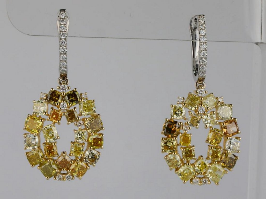 7.20ctw SI1-SI2 Multi-Color Diamond 14K Earrings
